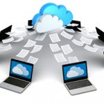 graphic showing circle of computers with pages going into a cloud