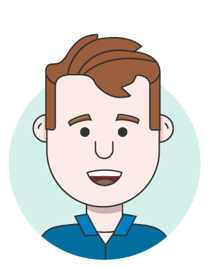 illustration of a person with brown hair wearing a blue collared shirt