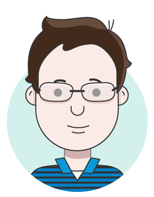 illustration of person with brown hair, glasses, and a black and blue striped shirt