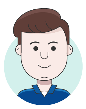 illustration of person with brown hair wearing a blue polo shirt