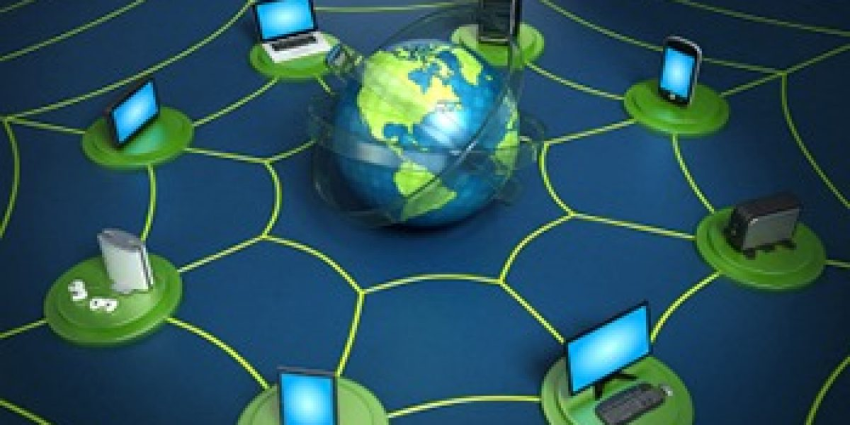 graphic showing circle of computers and a server with image of earth in the center